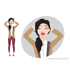 surprised shocked woman vector image vector image
