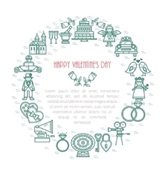Valentine s day isolated linear frame icons vector