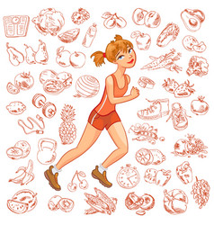 young woman jogging vector image