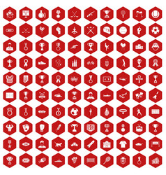 100 medal icons hexagon red vector
