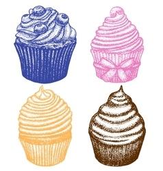 hand drawn cupcake set vector image