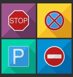 Road signs in a flat design vector