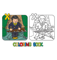 Funny musician or xylophone player coloring book vector