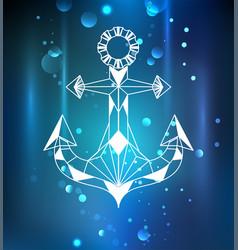 White anchor polygon vector