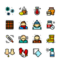thin line colds icons set vector image