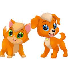 Kitten and puppy friends vector
