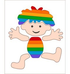 Cheerful rainbow baby stylized image vector