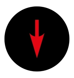 Sharp down arrow flat intensive red and black vector