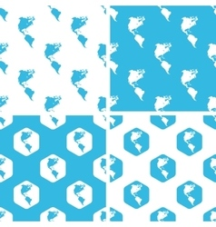 American continents patterns set vector
