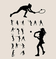 Woman tennis player silhouette vector