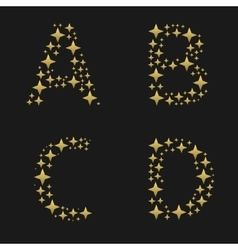 Golden sparkles alphabet vector
