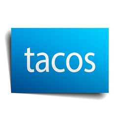 Tacos blue paper sign isolated on white vector