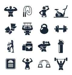 Bodybuilding Black Icon Set vector image