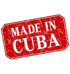 Made in cuba red square grunge stamp vector