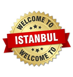 Istanbul 3d gold badge with red ribbon vector