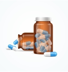 Pills capsules in medical glass bottle vector