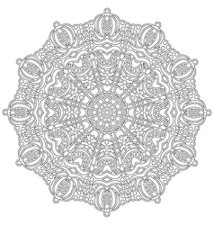 Adult coloring book floral mandala black and white vector