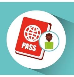 Afro guy passport tourist traveler vector