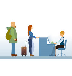 airport departure area with passengers reception vector image vector image