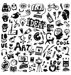 art tools icons vector image vector image