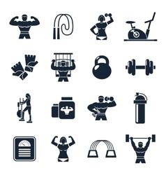 Bodybuilding Black Icon Set vector image vector image
