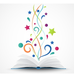 Book opened abstract with colorful star and wave vector