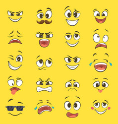 cartoon emotions with funny faces with big eyes vector image vector image