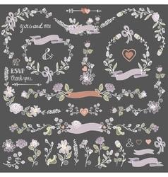 Colored doodles floral decor setborderscorner vector