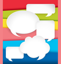 different speech bubbles on rainbow background vector image vector image