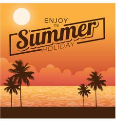 Enjoy the summer holiday sunset background vector