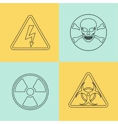 Flat thin line warning signs symbols vector
