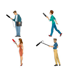 four reporters set vector image