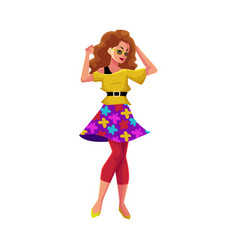 Girl in 1980s style clothes dancing at retro disco vector
