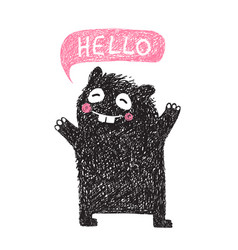 Kids hand drawn black monster say hello vector
