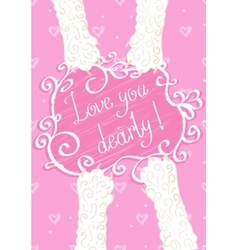 Love you dearly Greeting card vector image vector image