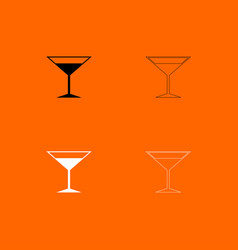 Martini glass black and white set icon vector