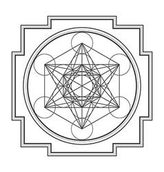 Monocrome outline metatron cube yantra vector
