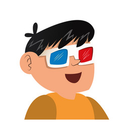 Nice boy using 3d glasses vector