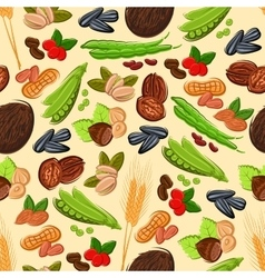 Nut bean seed and cereal seamless pattern vector