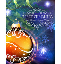 Orange christmas ball with fir branches and tinsel vector