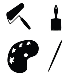Painting tools silhouette vector