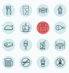 Set of 16 cafe icons includes restaurant lolly vector