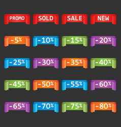 Set of colorful sale tag labels discount up to 5 vector