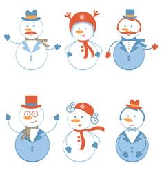 Snowmen set vector image vector image