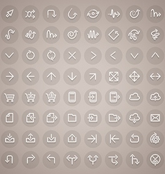 Stroke Arrow Round Icons Set vector image vector image