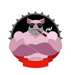 Strong pig in glasses and with a cigar Logo for vector image vector image