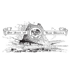 the united states seal of new mexico vintage vector image