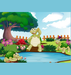 Three turtles by the pond vector