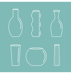 Vase outline icon set Ceramic Pottery Glass Flower vector image vector image