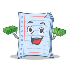 With money notebook character cartoon design vector